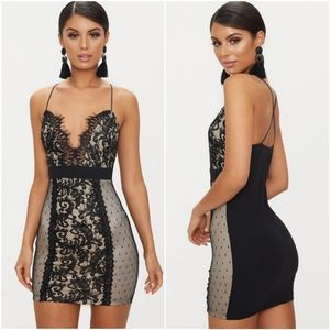 ReVamped Black Lace Panel Plunge Bodycon Dress